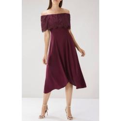 Ex Ca@st Burgundy Lace Bardot Dress  - 12  Pack