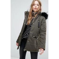 EX NL Khaki Faux Fur Hooded Puffa Jacket - 12 Pack