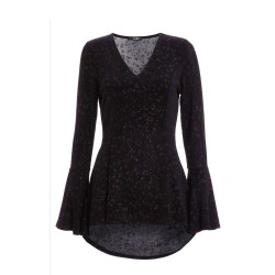 Ex Qu@z Black Sparkle Peplum Top - 12 Pack