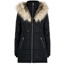 EX NL Black Faux Fur Hooded Puffa Jacket - 12 Pack