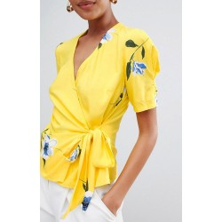 Ex W@rehouse Yellow Wrap Top  - 12 Pack