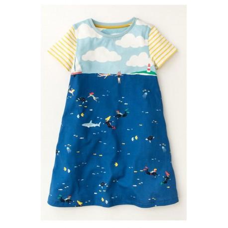 Girls Ex Mini B@d@n Dinosaur Print Dress - 20 pack