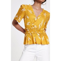 Ex RI Floral Mustard Bell Sleeve Wrap Top  - 11 Pack